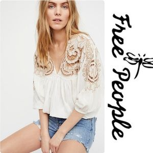 Free People Cutwork Embroidered Dolman Blouse Top